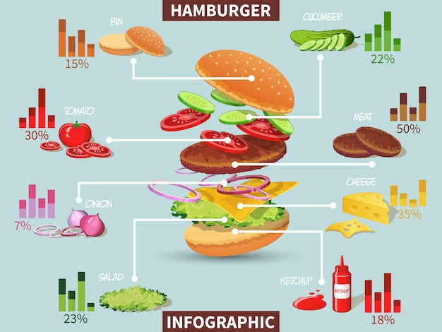 Hamburger ingredients infographic Free Vector