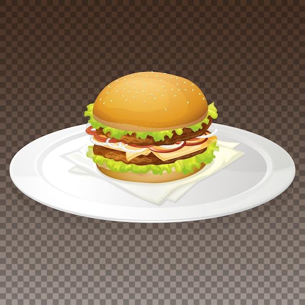 プレート上のハンバーガー 無料ベクター