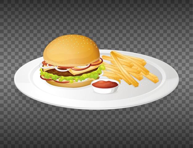 Hamburger on plate transparent Free Vector