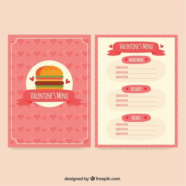 Hamburger Special Menu Template For Valentine Premium Vector