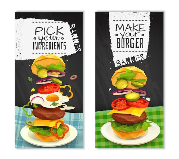 Hamburger vertical banners Free Vector
