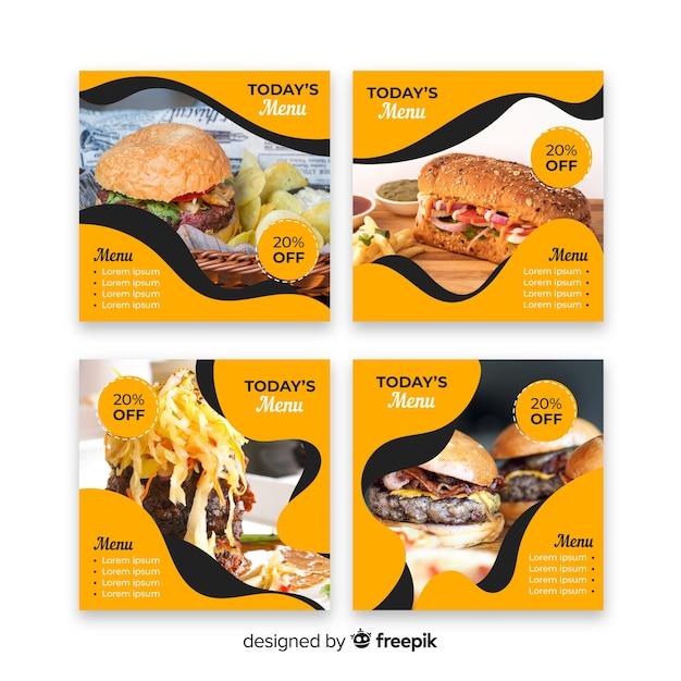 Гамбургеры инстаграм пост коллекция с фото Бесплатные векторы