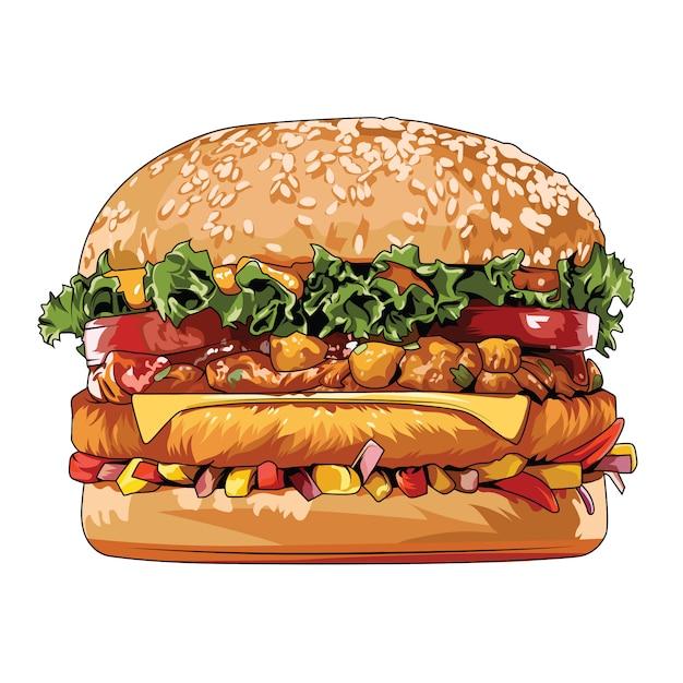 Hamburgers junk food vector element of street food Premium Vector