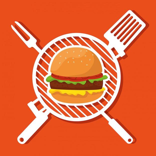 Гамбургер с грилем и посудой для барбекю Бесплатные векторы