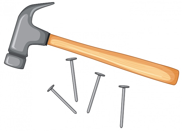 Hammer and nails isolated Premium Vector