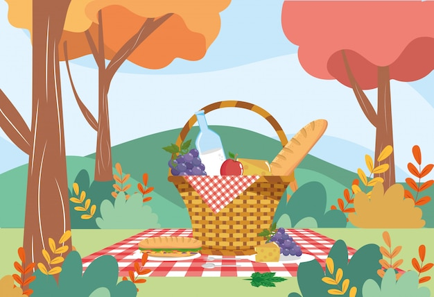Hamper with milk bottle and bread with grapes Free Vector