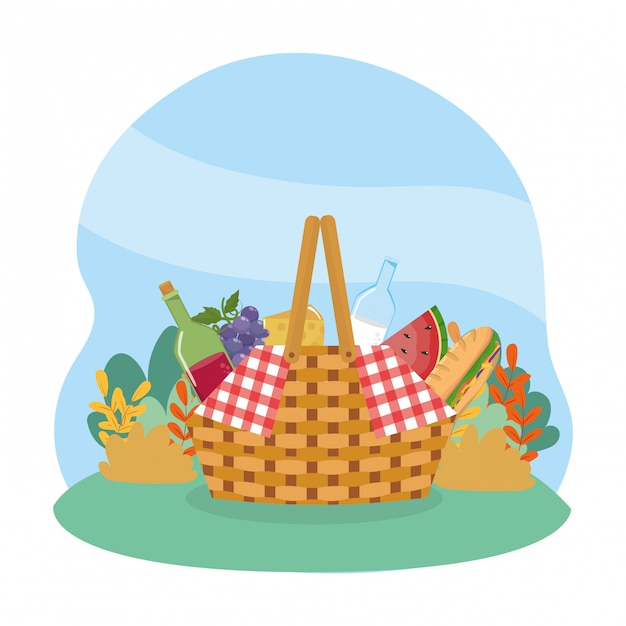 Hamper with wine and milk bottle with grapes and cheese Free Vector