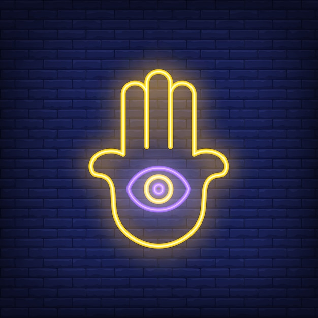 Hamsa hand with eye neon sign Free Vector