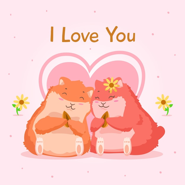 Hamsters couple valentine background Free Vector