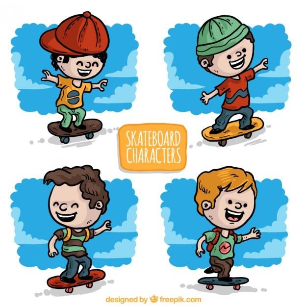 Han drawn nice skater kids Free Vector