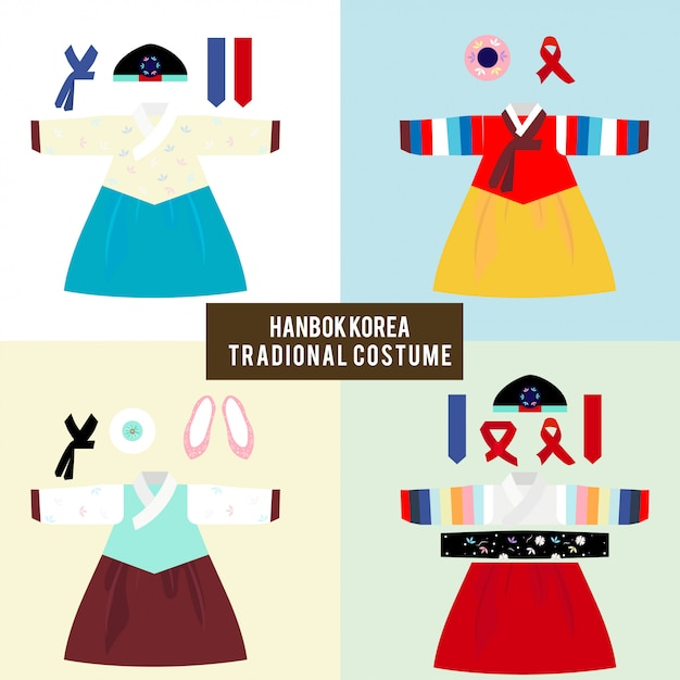 Hanbok korea traditional costume Premium Vector