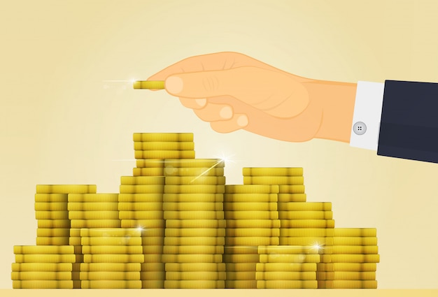 Hand adds coin to the treasure Premium Vector