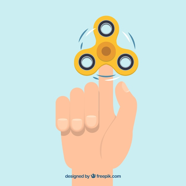 Hand background with yellow spinner Free Vector