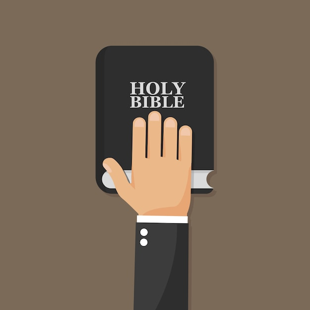Hand on bible. Premium Vector