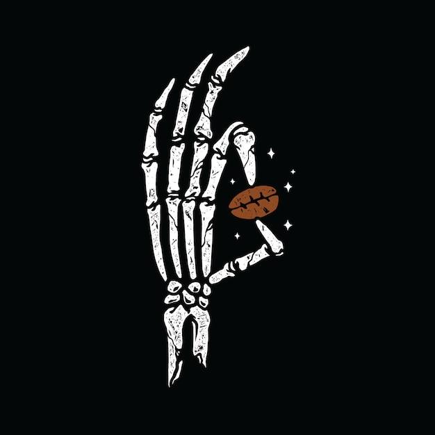 Hand bone с кофейной надписью art t-shirt design Premium векторы