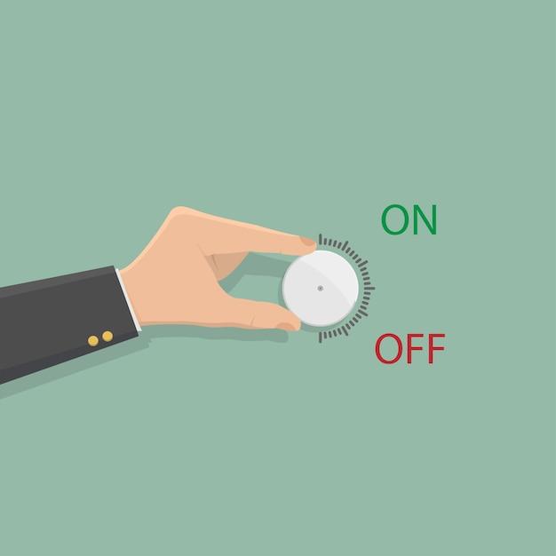 Hand of businessman hold on volume control. Premium Vector