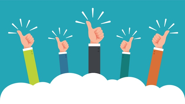 Hand of businessman with thumbs up feedback Premium Vector