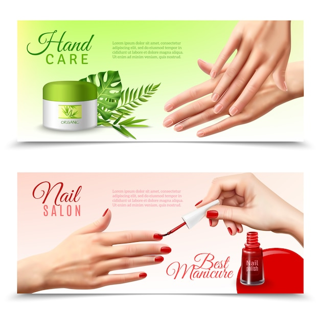 Hand care cosmetics realistic banners Free Vector