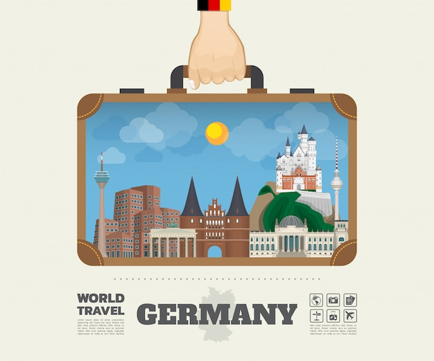 Hand carrying germany landmark global travel and journey infographic bag. Premium Vector
