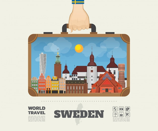 Hand carrying sweden landmark global travel and journey infographic bag. Premium Vector