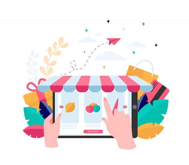 Hand choosing groceries online Free Vector