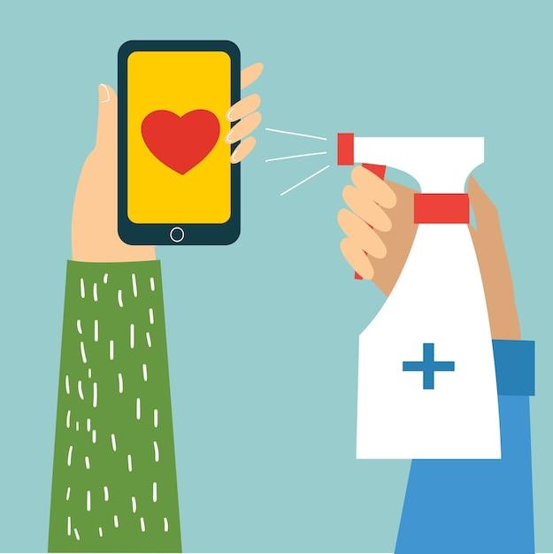 Ручная очистка телефона от вирусов. здравоохранение цель иллюстрации. Premium векторы