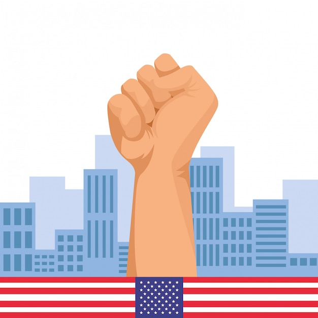 Hand clenched fist sign cartoon Premium Vector