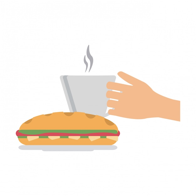 Hand coffee cup and sandwich Premium Vector