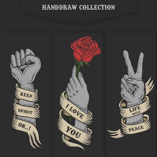 Hand collection illustration Premium Vector