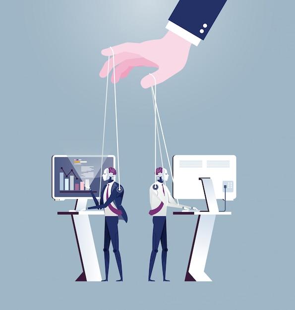 Hand controlling ai robot puppet Premium Vector