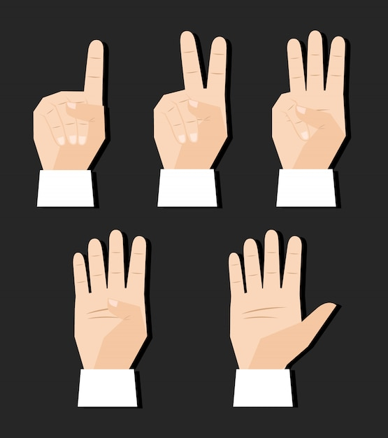 Hand counting finger signs set Free Vector