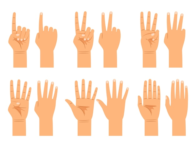 Hand counting isolated Premium Vector