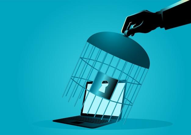 Рука, закрывающая ноутбук клеткой Premium векторы