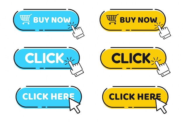Hand cursor and arrow pointing to click button click here for a link Premium Vector