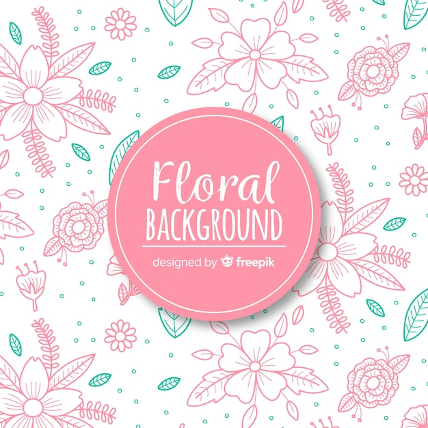 Hand dawn floral background Free Vector