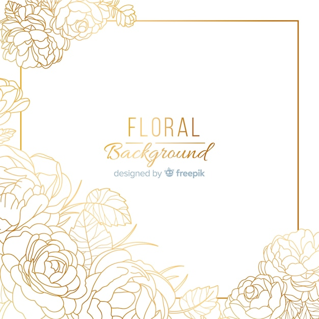 Hand dawn golden floral background Free Vector