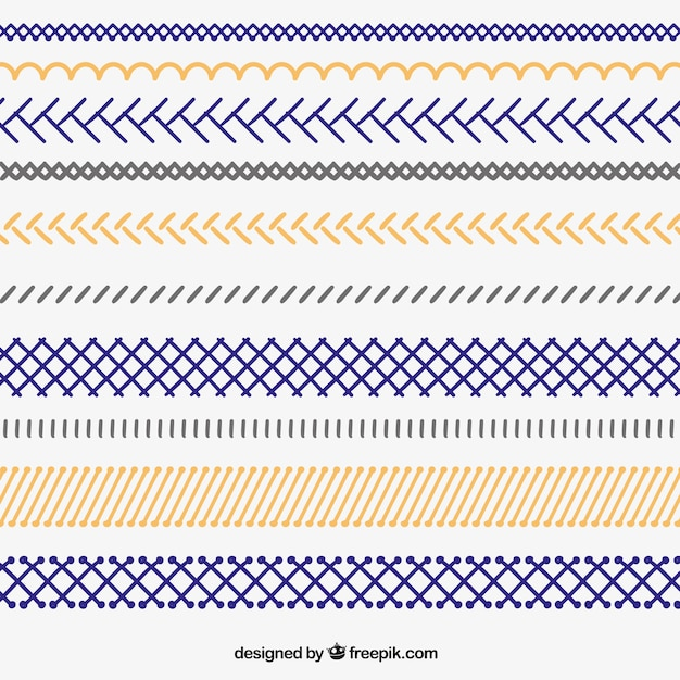 Hand dawn zigzag borders Free Vector