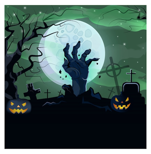 Hand of dead man from ground of graveyard illustration Free Vector