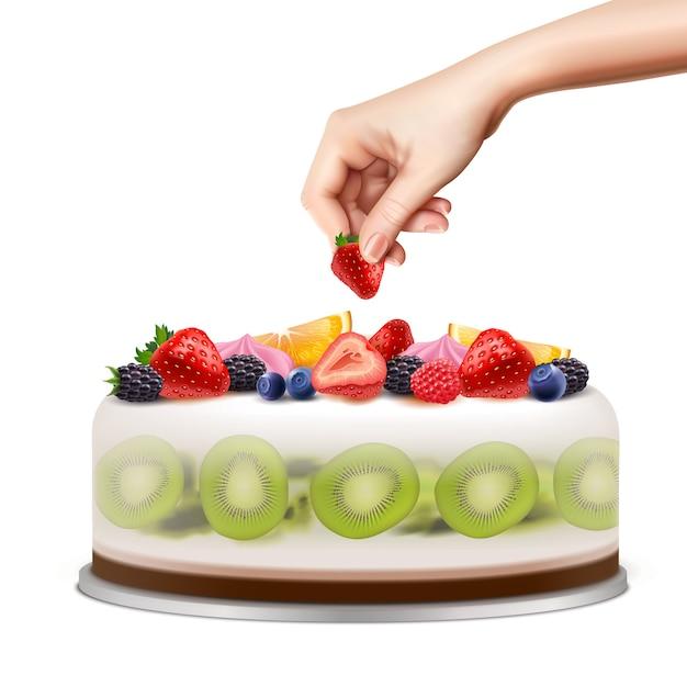 Рука украшает день рождения или свадебный торт со свежими фруктами ягоды крупным планом вид сбоку реалистичное изображение иллюстрации Бесплатные векторы