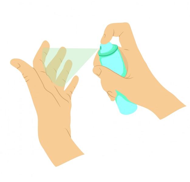 Средства дезинфекции рук, средства индивидуальной защиты, дезинфицирующие спреи для предотвращения вирусов, коронавирус. Premium векторы