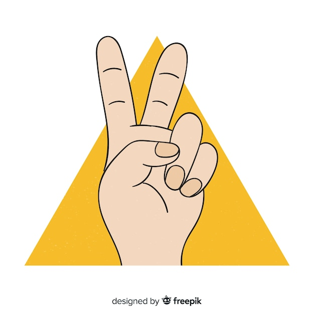 Hand doing  the peace sign with hand drawn style Free Vector