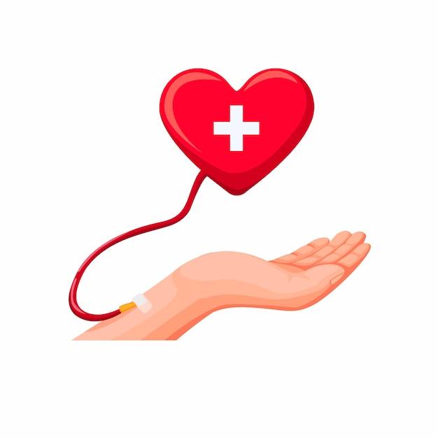 手献血。分離された漫画イラストベクトルのハート記号の概念と輸血血 Premiumベクター