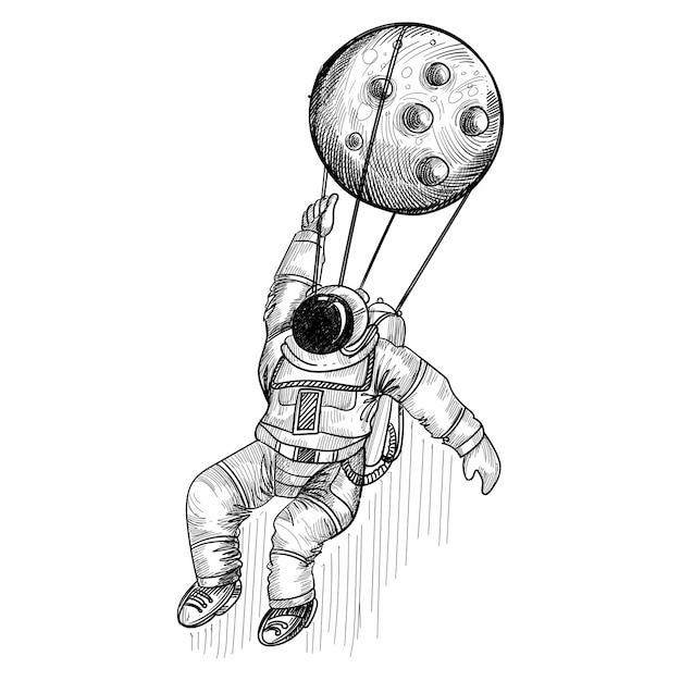 宇宙スケッチデザインで宇宙飛行士を手描き 無料ベクター