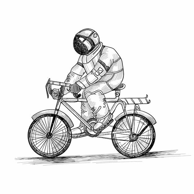 Mano disegnare astronauta cosmonauta in un disegno di schizzo dello spazio Vettore gratuito