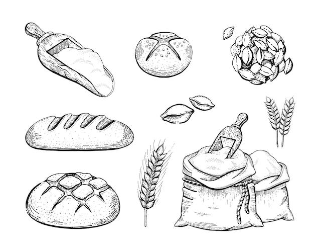手描きのベーカリーセット小麦粉バッグ、パン、小麦の耳、スケッチの概念。分離された黒の刻まれた線画の描画 Premiumベクター