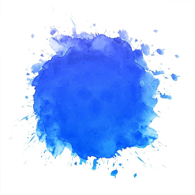 Hand draw blue splash watercolor background Free Vector