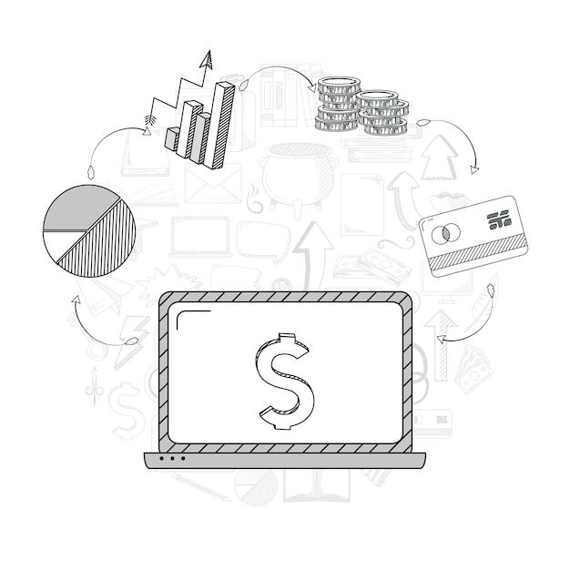 Hand draw business concept Premium Vector