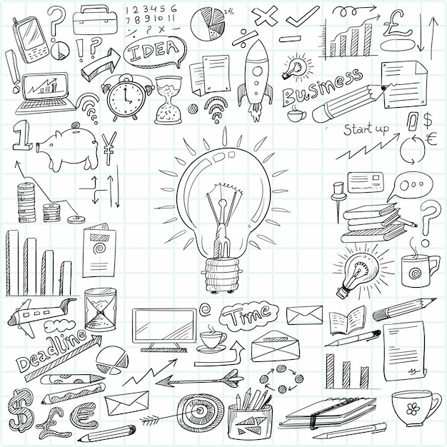 Hand draw business idea doodles sketch design Free Vector
