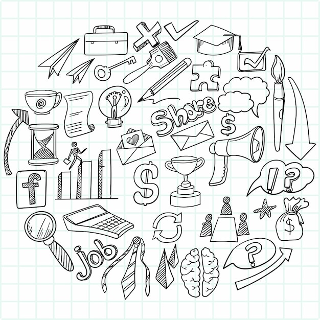 Рука рисовать бизнес-идею каракулей эскизный дизайн Бесплатные векторы