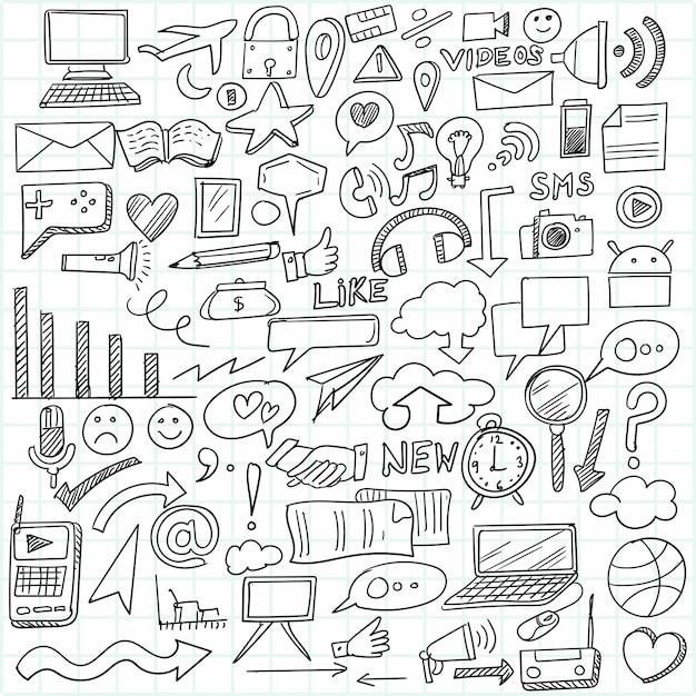 Idea imprenditoriale di tiraggio della mano doodles il disegno di schizzo Vettore gratuito